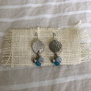 Silver with blue bead earrings